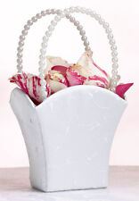 White Embroidered Pearl Handle Wedding Flower Girl Basket Ceremony Aisle Satin