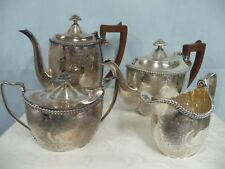 ANTIQUE ENGLISH CHASED SILVER PLATE COFFEE/TEA SET w/WOOD HANDLES, 4 PIECE SET