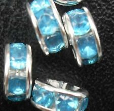 Free Ship 100Pcs Silver Sky blue Plated Crystal Spacer Beads 8mm