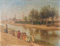 ORIENTALIST LANDSCAPE. EGYPT. OIL ON CANVAS. VOITLER BILLNEY. 19TH.