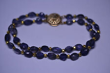 14K YELLOW GOLD FACETED IOLITE & GOLD BEAD DOUBLE STRAND BRACELET FILIGREE CLASP