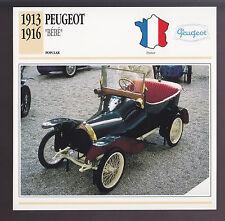 "1913-1916 Peugeot ""Bebe"" Mini Car Photo Spec Sheet Info ATLAS CARD 1914 1915"