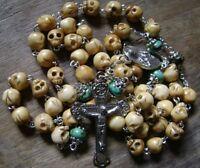 Handmade Bone Skull Flower Turquoise BEADS ROSARY Relic Cross CRUCIFIX NECKLACE