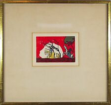 """Wassily Kandisky (Russian,1866-1944) Original Color Woodcut Print """"Two Riders"""""""