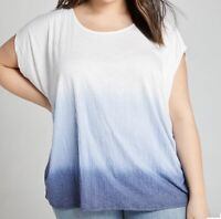 NWT Lane Bryant Textured Blue Ombre Dip-Dye Top Sz 18/20, 22/24, 26/28 Orig $50
