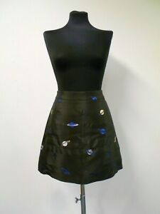 New LULU & CO skirt black with planet metallic embroidery, a-line, short UK8 NWT