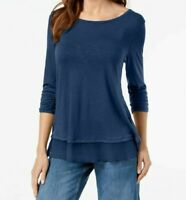 New Style & Co Women's Ruched Sleeve Chiffon Hem Top Blue Petite Sz PS NWT B1616