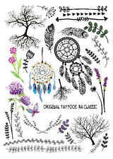 Set Small Temporary Tattoo Sticker Body Art Waterproof Dreamcatcher feather Tree