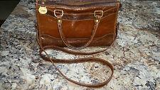 Brahmin Doctor Style leather brown bag w/Croc Trim, long strap EUC