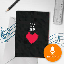120s Gamer Valentines Card Musical Greeting Card Geeky Nerdy Pixel Art 00080