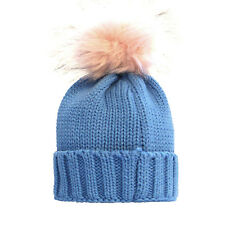 Childrens Winter warm fashionable Blue and Pink  single pom pom beanie hat