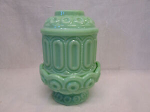 Moon and Stars Pattern JADEITE Jadite Jade Green Fairy Courting Candle Lamp