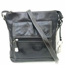 GIANI BERNINI Womens Florentine Glazed Leather Crossbody Messenger Bag Purse Blk