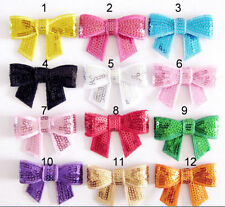 10pcs Multicolor DIY Sequin Bow Sparkle 4 Hair Clips Headbands Tie Corsage Tutus