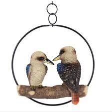 Pair of Kookaburra Australian Native Birds on Metal Swing Hanger Outdoor Indoor
