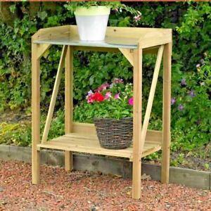 Kingfisher Wooden Potting Table Garden Bench Greenhouse Plant Shelf Work Station