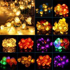 10/20/30LED Rose Flower Light String Fairy Wedding Christmas Party Garden Decor