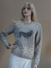 Ralph Lauren Gray Siberian Husky Alaskan Malamute Sled Dog Sweater M Nwt