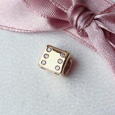 Genuine Used Authentic Pandora 14ct Gold Diamond Dice Charm 750469D G585 ALE