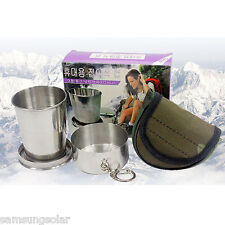 Stainless Steel Portable Outdoor Travel Camping Folding Collapsible Cup 1pcs