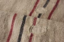 GRAIN SACK hemp grainsack KE linen grain bag BLACK red WASHED PATCHED primitive