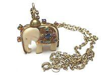 Elefant Anhänger Knochenbein Silber Montur vergoldet Edelstein Besatz & Kette