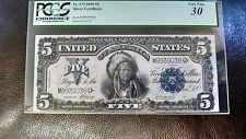 1899 FR#279  $5  LARGE SIZE SILVER CERTIFICATE (CHIEF)  PCGS VF 30 LOOKS XF/AU