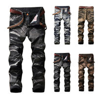 Newly Mens Fashion Biker Jeans Motorcycle Straight Slim Fit Ripped Pleated Jeans