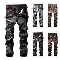 Nouveau Mode Hommes Motard Jeans Moto Droit Slim Déchiré Plissé Jeans