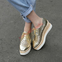 Women's Fashion Sneakers Wedge Heel Shoes Pumps Lace Up Platform Casual Creeper