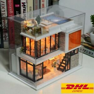 Diy Florence Dollhouse With Dust Cover Miniature Handicraft