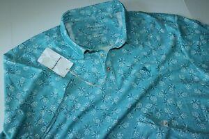 Tommy Bahama Polo Shirt Pineapple Paradise Turquoise Blue New XX-Large BIG 2XLB