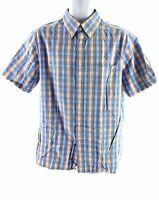M&S BLUE HARBOUR BLUE ORANGE CHECK SHORT SLEEVE SHIRT MEN L LARGE 10781