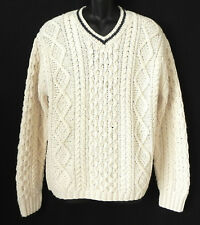 Abercrombie & Fitch Sweater Cotton/Wool Beige V-Neck Cable Knit Size L