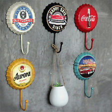 Retro Beer Bottle Caps Hook Tin Sign Wall Decor Metal Bar Plaque Pub Home Shop