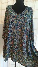Peruvian Connection Dress tunic Blue Floral Pima cotton/modal Size L
