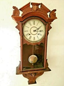 1878 Victorian Carved Case Waterbury Striking Regulator Wall Clock--Lion's Heads