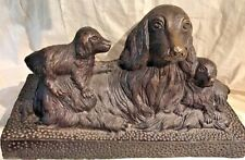 """CAST BRASS OR BRONZE SCULPTURE OF COCKER SPANIEL MOTHER AND PUPPIES 12"""" x 8"""""""