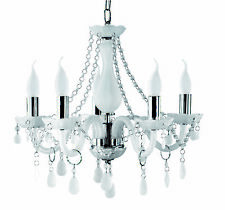 Searchlight 1985-5wh. White Frosted Glass Marie Therese Style Chandelier Light.