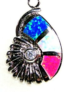 Silver 925 SF Pendant Blue White Pink Lab Fire Opal & White Topaz SHELL 7/8""