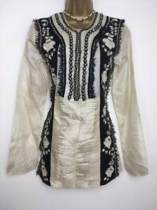 Day Birger et Mikkelsen 100% silk kaftan tunic top Cream Black Size 36 UK 10