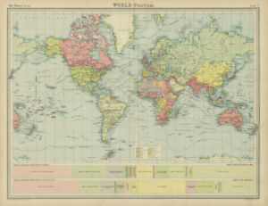 World - Political & colonial. British Empire. French Portuguese. TIMES 1922 map