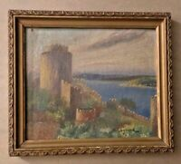Antique Original Oil Painting Rumeli Hisari Ottoman Castle on Bosphorus Turkey