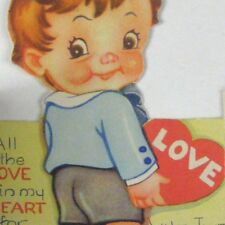 Love Valentine Greeting 1949 Used Die Cut Young Boy Puppy Dog