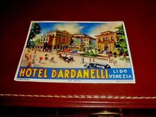 1930s VINTAGE HOTEL DARDANELLI ITALIAN LUGGAGE DECAL STICKER BEAUTIFUL COLORS