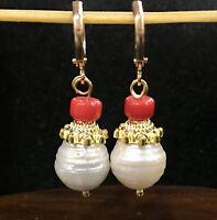 New AAA 12x15mm SOUTH SEA WHITE BAROQUE PEARL CORAL Earrings AAA