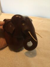 Vintage Solid Hardwood Elephant Head Wall Hanging