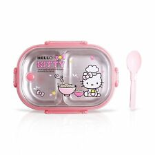 Finex Hello Kitty Chef Pink Bento Lunch Box Set with Clear Lid & Spoon 2 Divider