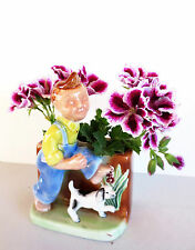 """Planter - Boy and Dog - Vintage 1950s - 6-1/4"""" tall x 4-1/4"""" wide"""
