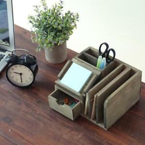 Rustic Gray Wood Office Desktop Organizer Notepad Holder Mail Sorter Pen Holder